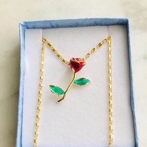 """New Red Rose yellow Gold plated necklace 18"""""""